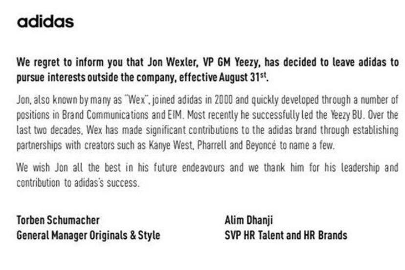 Dedos de los pies chupar Dislocación  Jon Wexler, General Manager of YEEZY, Has Left adidas   SoleSavy